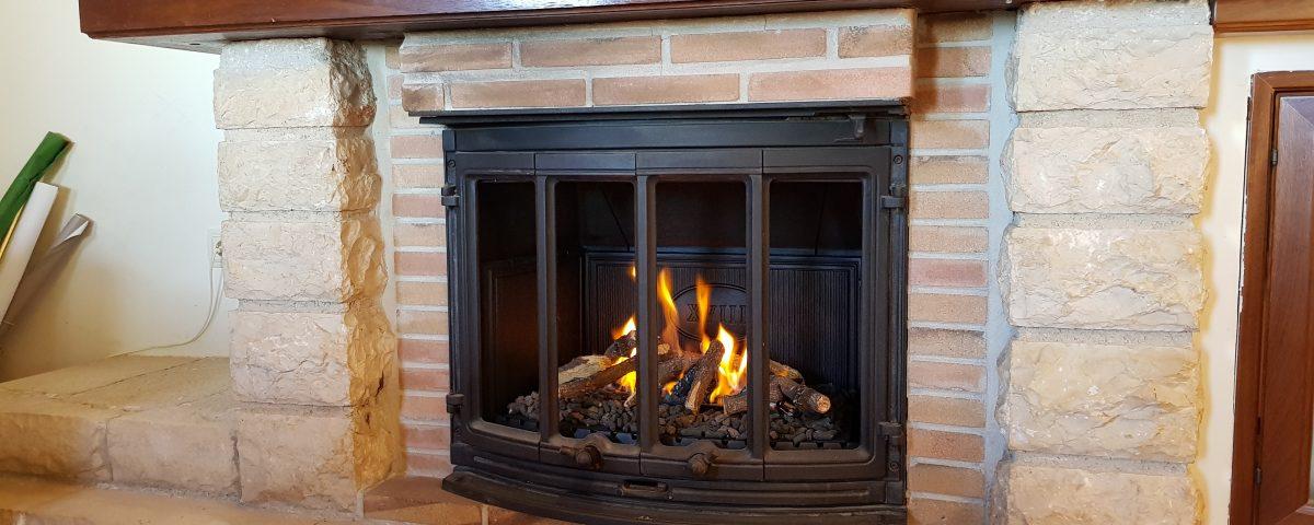 Transformación de chimenea de leña a gas