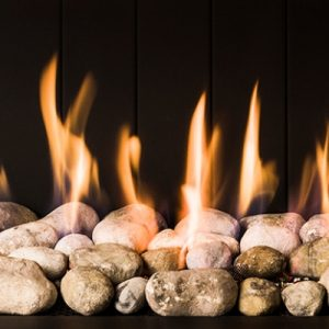 chimeneas de gas decoración fuego canto rodado
