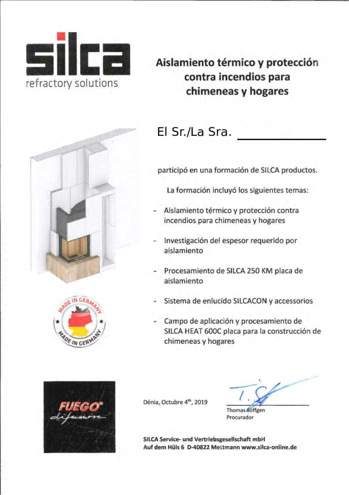 Certificado curso SILCA